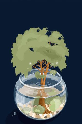 Miniature Ecosystem iPhone Wallpaper