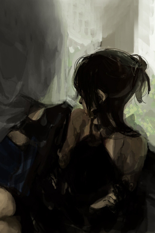 Sketched Lady iPhone Wallpaper