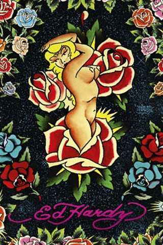 Ed Hardy - Rose Lady iPhone Wallpaper