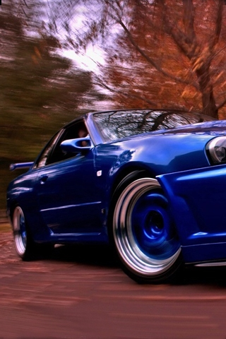Blue Nissan Skyline iPhone Wallpaper