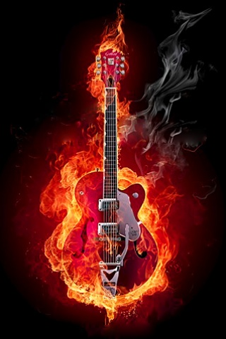 Flaming Gibson iPhone Wallpaper