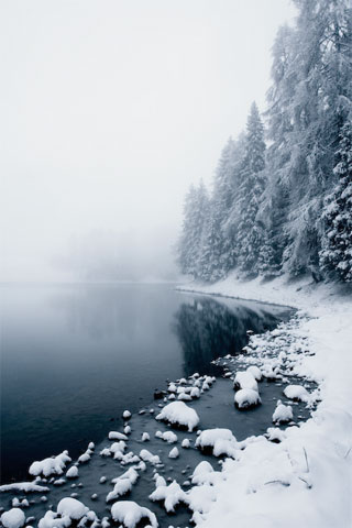 Winter Lake iPhone Wallpaper