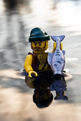 Hand Fishing Lego Pirate iPhone Wallpaper