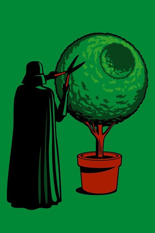 Darth Vader Gardening iPhone Wallpaper