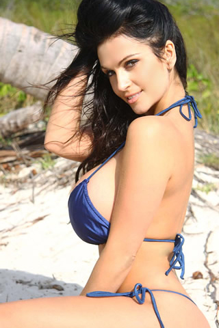 denise milani wallpapers. Denise Milani Blue Bikini