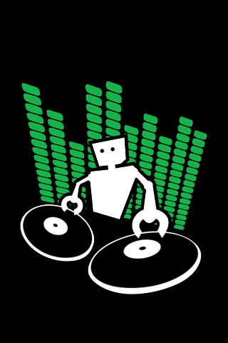 robot disc jockey iphone wallpaper tweet disc jockey dj logo music ...