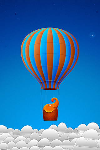 Elephant in Hot Air Balloon iPhone Wallpaper