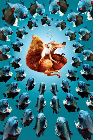 Piranha vs Scrat iPhone Wallpaper