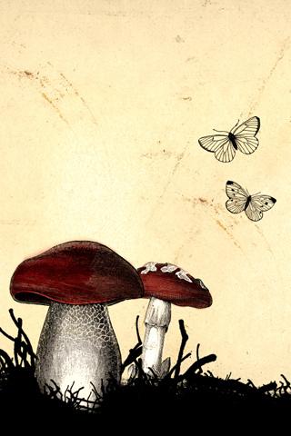 Butterflies & Mushrooms iPhone Wallpaper