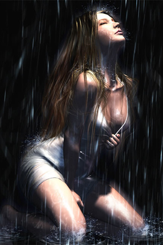 Wet Girl Painting iPhone Wallpaper