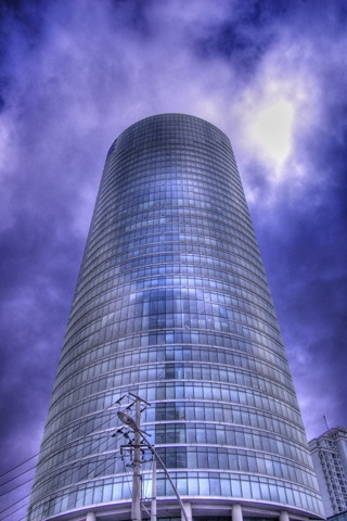 Curved Blue Building iPhone Wallpaper