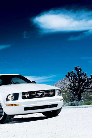 White Ford Mustang iPhone Wallpaper