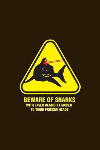 Beware of Sharks iPhone Wallpaper