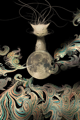 Lunar Kitten iPhone Wallpaper