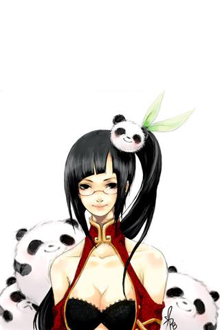 Panda Girl iPhone Wallpaper