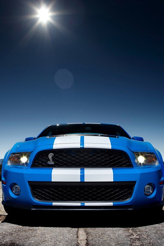 Blue Ford Shelby GT500 iPhone Wallpaper