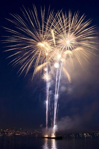Boat Fireworks iPhone Wallpaper