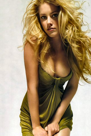 Amber Heard Green Dress iPhone Wallpaper