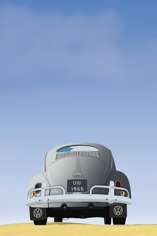 Old Volkswagon Beetle Vector iPhone Wallpaper
