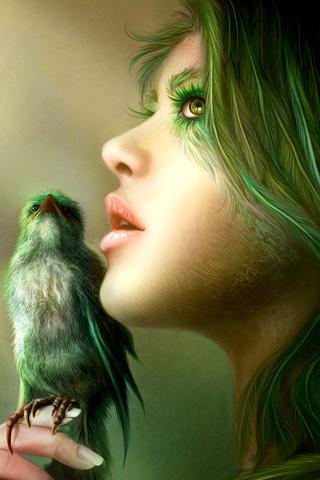 Green Bird iPhone Wallpaper