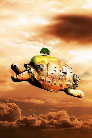 Flying Turtle iPhone Wallpaper