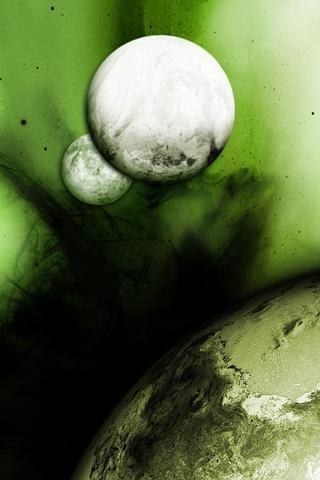 Green Moon iPhone Wallpaper