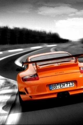 Orange Porsche iPhone Wallpaper