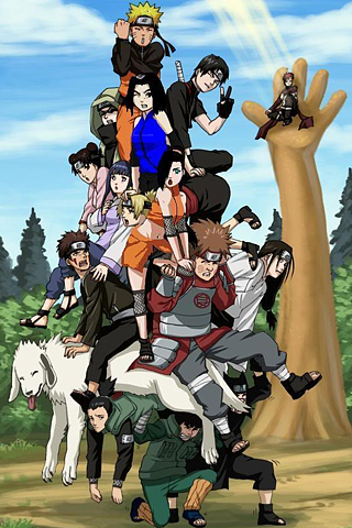 Naruto Character Pile Up IPhone Wallpaper
