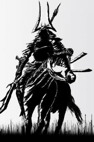 Samurai Sketch iPhone Wallpaper