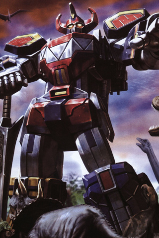 Megazord in Jurassic Park iPhone Wallpaper