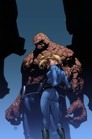 Thing and Invisible Woman iPhone Wallpaper