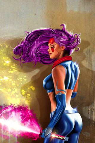 Psylocke Art iPhone Wallpaper