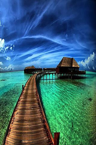 Maldives - Pier iPhone Wallpaper