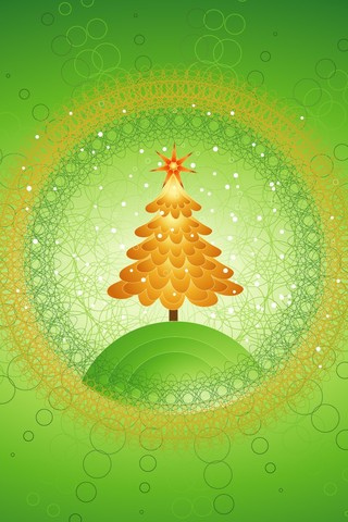 Green Christmas Tree iPhone Wallpaper
