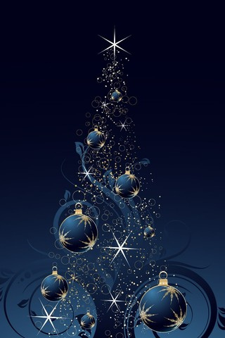 Blue Christmas Tree iPhone Wallpaper