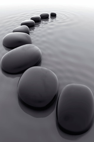 Black Pebbles iPhone Wallpaper