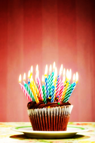 Birthday Cupcake iPhone Wallpaper