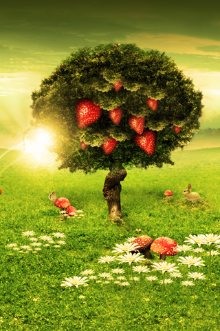 strawberry tree iphone wallpaper tweet abstract scenery strawberry