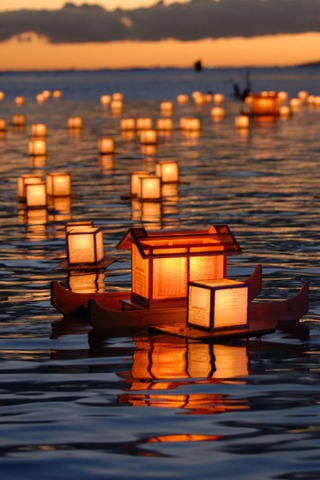 Boat Lantern Festival iPhone Wallpaper