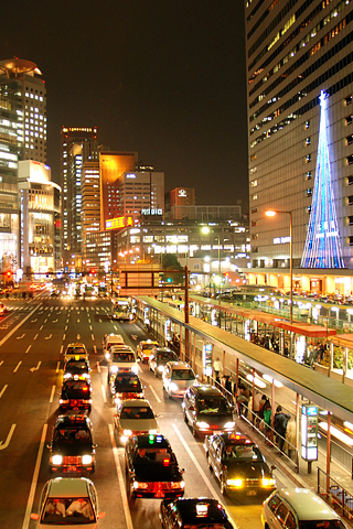 Osaka Nightlife iPhone Wallpaper