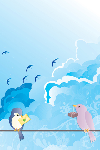 Lovebird Vector iPhone Wallpaper