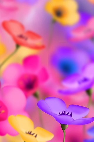 Plastic Flowers iPhone Wallpaper