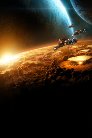 Starcraft - Battlecruiser Fleet iPhone Wallpaper