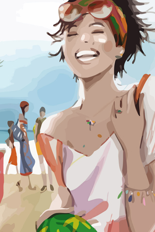 Fashion Watercolor Beach iPhone Wallpaper