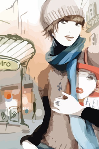 Fashion Watercolor Urban iPhone Wallpaper