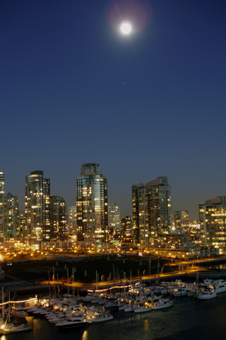 Moon Over Vancouver iPhone Wallpaper