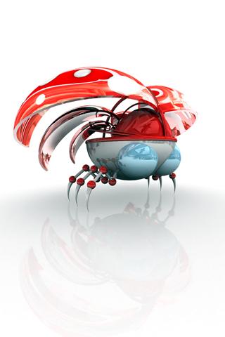 Robot Lady Bug iPhone Wallpaper