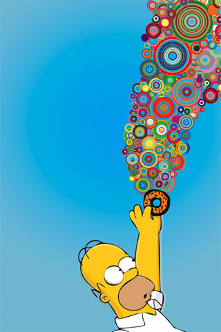 Homer: Vector Donut iPhone Wallpaper