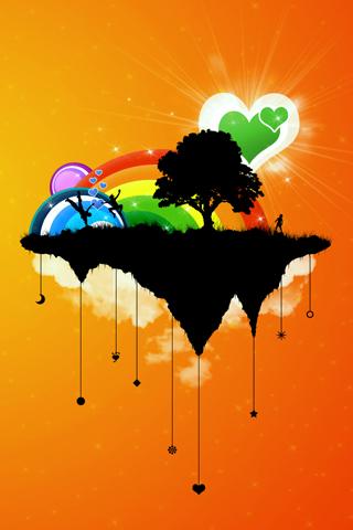 Happy World Vector iPhone Wallpaper