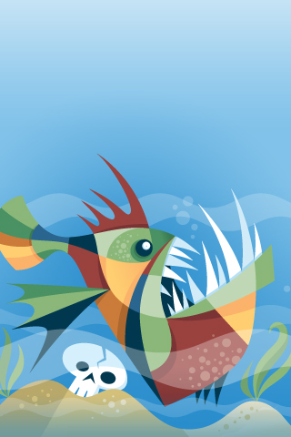 Hungry Fish iPhone Wallpaper